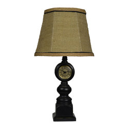 None - Black Clock Table Lamp - Keep an eye on the time while adding soft,directional lighting to your home with this charming clock table lamp. Perfect for a library,office or bedroom,this table lamp will be a fun and functional addition to your home.