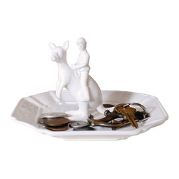 Roo Racer Dish - Tickle your funny bone with a key and change dish full of whimsy. Featuring a kangaroo jockey and his steed, this porcelain dish is the perfect place to empty your pockets at the end of a long day.