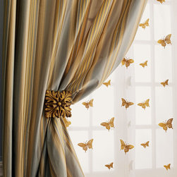 Milano Striped Curtains & Butterfly Sheers -