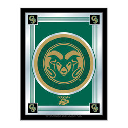 "Holland Bar Stool - Holland Bar Stool Colorado State Logo Mirror - Colorado State Logo Mirror belongs to College Collection by Holland Bar Stool The perfect way to show your school pride, our logo mirror displays your school's symbols with a style that fits any setting.  With it's simple but elegant design, colors burst through the 1/8"" thick glass and are highlighted by the mirrored accents.  Framed with a black, 1 1/4 wrapped wood frame with saw tooth hangers, this 17""(W) x 22""(H) mirror is ideal for your office, garage, or any room of the house.  Whether purchasing as a gift for a recent grad, sports superfan, or for yourself, you can take satisfaction knowing you're buying a mirror that is proudly Made in the USA by Holland Bar Stool Company, Holland, MI.   Mirror (1)"
