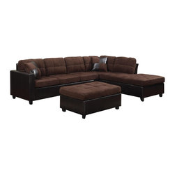 Adarn Inc - Microfabric Leather-Like Vinyl Mallory Reversible Sectional w/Ottoman, Chocolate - The Mallory collection was designed to create an inviting and warm atmosphere in homes. Ideal for use in living rooms or family rooms, this collection features a reversible sectional that can be rearranged to suit the needs of your room. The construction includes pocket coil seating for individualized comfort while loose seat and back cushions allow for easy fluffing. Each piece is wrapped in microfiber and leather-like vinyl for a fresh urban look without the high price point that comes along with leather. Details of this collection include exposed wood legs, smooth track arms and baseball seam stitching.