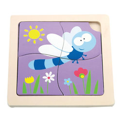 The Original Toy Company - The Original Toy Company Kids Children Play Dragon Fly 1st Puzzles - These classic four piece puzzles with colorful pieces set into a wooden tray that is imprinted with a puzzle for matching up.