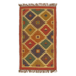 Rugsville - Rugsville Rug Southwestern 13608-35 Multi - There are some abstract patterns that will go well along your modern home decor. You may even want to get some of these carpets for your living room and spacious places. There are different choices in colors, sizes and shapes as well. 100% Natural wooland Jute. Extremely durable for high traffic areas. Meticulously woven flat-weave rug handmade in India. Made by skilled artisans in the villages of North Central India with careful attention given to the pattern detailing.