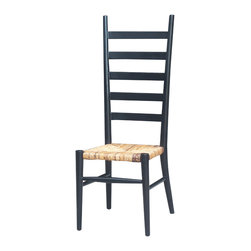 Four Hands - Tall Ladder Back Dining Chair-Black - This ladder-back chair bridges the distance between early American and modern designs — and is sure to give you a leg up on decorating. With its rush seat made from natural fibers, the natural wood in black and that dramatic, elongated ladder back, it's a great way to elevate your next meal while staying true to your roots.