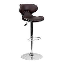 "Flash Furniture - Cozy Mid-Back Brown Vinyl Adjustable Height Bar Stool with Chrome Base - This may be the most comfortable and attractive stool out there with its ergonomically curved seat and back. The mid-back design will allow you to relax your back. You're sure to receive compliments with this stool in your home. The easy to clean vinyl upholstery is perfect when being used on a regular basis. The dual purpose design performs as a counter height stool or a bar height stool. The height adjustable swivel seat adjusts from counter to bar height with the handle located below the seat. The chrome footrest supports your feet while also providing a contemporary chic design. Counter Height or Bar Stool; Brown Vinyl Upholstery; Curved Seat and Back; Swivel Seat; Height Adjustable Seat with Gas Lift; Foot Rest; Chrome Base; Base Diameter: 17.625""; CA117 Fire Retardant Foam; Designed for Residential Use; Overall dimensions: 17.5""W x 17.5""D x 34.5"" - 43""H"