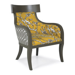 Iliad Chair, Blossom Marigold - I love the combination of fabrics on this accent chair. I see a pair floating out in the middle of the room or anchoring a dining table.