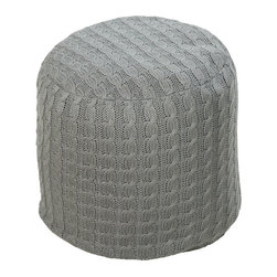 Braided Knit Pouf - There's nothing like your winter sweaters for softness. Take that level of comfort year-round with this cushy cable-knit pouf. After a long day, your feet will appreciate the treat.