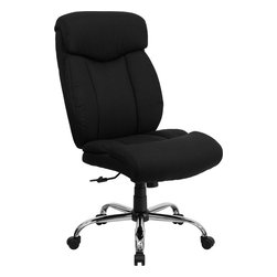 Flash Furniture - Flash Furniture Hercules Series 350 lb. Capacity Big & Tall Black Office Chair - Get the comfort needed to perform all work tasks in this stylish Big and Tall Office chair by Flash Furniture. This executive chair comfortably fits users up to 350 lbs. chair features built-in lumbar support and a spring tilt mechanism. [GO-1235-BK-FAB-GG]