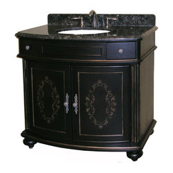 "Kaco International Inc. - Kaco 5300-3600-1025TB Arlington 36"" Vanity - The Arlington, a stately traditional cabinet, features panel and frame doors, raised moulding drawer trim, bowed front , and fluted pilasters supported by rounded bun feet. Kaco products feature a Sherwin Williams water resistant furniture grade finish and a complete package of complimenting products for the bath."