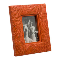 Kouboo - Pandan Picture Frame, Orange - Bring some fun color to your home by framing family pictures and special moments into this colorful photo frame. The frame is hand woven from Pandan in a circular pattern adding refinement this unique picture frame.