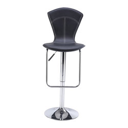 Global Furniture USA - M260BS Black Leatherette & Chrome Adjustable Bar Stool Set of Two - The M260BS bar stool adds a contemporary look with it's modern design that works for any decor. This stool comes upholstered in a beautiful black leatherette material. Featuring a high back for added comfort and maximum relaxation. The stool is height adjustable with a built-in hydraulic mechanism. The base features a foot rest and is crafted of metal with a chrome finish. The price shown includes two stools only.