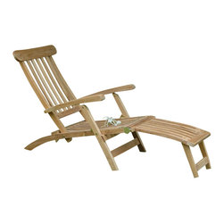 """Anderson Teak - Royal Steamer Armchair - Relax in Titanic Style! Perfect for that backyard Patio, Pool or Garden. Don't compare with redwood, pressed wood, mahogany or even cedar for quality!   Teak- means highest durability and maximum beauty! More comfort, beauty, and durability!  All furniture arrives at your home Fully Assembled in its """"Natural"""" unfinished state. Cushion is optional and is can be made by order."""