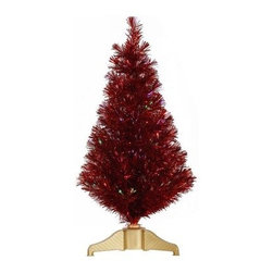 Vickerman 3 ft. Red Fiber Optic Christmas Tree - Turn a few heads this holiday season with the Vickerman 3 ft. Red Fiber Optic Christmas Tree. The classic Christmas touch of a lighted tree takes a modern turn with a fiber optic system that sends light through the body of this rich, red tree while the gold stand holds it firmly in place.Specifications Shape: FullBase Width: 20.5 inchesNumber of Tips: 107Don't Forget to Fluff!Simply start at the top and work in a spiral motion down the tree. For best results, you'll want to start from the inside and work out, making sure to touch every branch, positioning them up and down in a variety of ways, checking for any open spaces as you go.As you work your way down, the spiral motion will ensure that you won't have any gaps. And by touching every branch you'll create the desired full, natural look.About VickermanThis product is proudly made by Vickerman, a leader in high quality holiday decor. Founded in 1940, the Vickerman Company has established itself as an innovative company dedicated to exceeding the expectations of their customers. With a wide variety of remarkably realistic looking foliage, greenery and beautiful trees, Vickerman is a name you can trust for helping you create beloved holiday memories year after year.