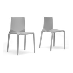 Baxton Studio - Baxton Studio Zetta Plastic Stackable Modern Dining Chairs (Set of 2) - Beguiling in its simplicity, our Zetta Stackable Dining Chair will dress up your dining space with an elegant modernity. This set of two designer dining chairs features injection-molded white/ Pale gray polypropylene plastic with non-marking feet.