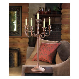 "Malibu Creations - Rustic Elegance 5 Arm Candelabra - This magnificent candelabra will create a stately look of elegance when you set it on a dinner table, mantel or any other place. The tall iron frame features a wide base and holds five candles of your choice on classically turned pedestals. Use it to light up your ranch-style dining table or in any room that needs some rustic glamour. Serves as an ideal wedding centerpiece or housewarming gift.   * Dimensions: D: 16"" H: 27"""