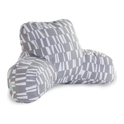 Gray Sticks Reading Pillow - Now you can kick back and relax anywhere, inside or out, with this comfortable and supportive Reading Pillow. The Best Pillow Shoppe's Indoor/Outdoor Gray Sticks Reading Pillow provides back and head support that is perfect for many activities such as reading, working on your laptop or lounging with friends. Stuffed with a super loft recycled polyester fiber fill, the reading pillows zippered slipcover is woven from Outdoor Treated polyester and has up to 1000 hours of U.V. protection. The slipcover also zips off and is machine-washable.