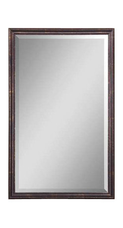 """Uttermost Renzo Bronze Vanity Mirror - Distressed bronze with gold leaf highlights. Frame is finished in distressed bronze with gold leaf highlights. Mirror has a generous 1 1/4"""" bevel."""