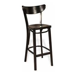Kathy Kuo Home - Salem Black Beech Wood Tall Bar Stool - Raise a glass to your welcomed guests and excellent taste in casual seating from this tall, beech wood chair-backed barstool. Available in black or walnut finish, the four legs provide ample support and comfort for all your gracious gatherings.