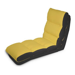 Lifestyle Solutions - Turbo Convertible Chaise Lounger in Yellow - Single seat function, Multiple Conversions. Converts from chair to chaise to bed position in seconds. Cover is Tufted and wrapped in polyester blend. No assembly required. Clean with damp cloth. Chaise Lounge: 47.2 in. L x 22 in. W x 32.2 in. H (34.2 lbs). Bed: 69.2 in. L x 22 in. W x 6.6 in. H (34.2 lbs)Cool and contemporary, the Turbo Convertible Chaise Lounger will make a smart and stylish addition to any room. When you sit, recline, or lie flat on this innovative convertible chaise, you'll experience the sweet comfort of soft microfiber upholstery and padded cushioning. It only takes a matter of seconds to adjust the position to fit your mood in the moment.  Easily moveable from room to room. Ideal for a kid's room, game room, or dorm room, the Turbo will bring comfort and modern style to any setting. Choose from a wide assortment of colors to match your decor.