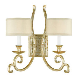 """AF Lighting - AF Lighting 7903-2W Candice Olson """"Lucy"""" Two-Light Wall Sconce with Cream Poly S - AF Lighting 7903-2W Candice Olson """"Lucy"""" Two-Light Wall Sconce with Cream Poly Silk Hard-Back Shades, Finished in Soft GoldAF Lighting 7903-2W Features:"""