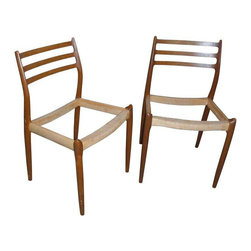 Moller Model 78 Teak Dining Chairs - A Pair - $250 on Chairish.com -