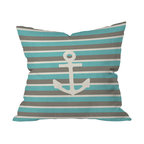 DENY Designs - Bianca Green Anchor 1 Throw Pillow, 20x20x6 - Hard to say whether it's the simple, iconic design or strikingly chic color palette that makes this nautical pillow so appealing. The pattern is repeated on both the front and back of the woven polyester case, which comes complete with insert. Perfect for the beach, the bedroom, the den or wherever the tides may take you.