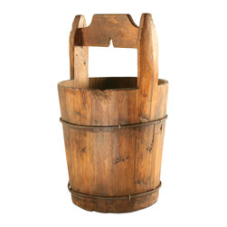 VIntage Wooden Water Bucket - Add a homey, traditional touch to your home's décor with this fantastic wooden water bucket. This exquisite piece is truly one of a kind and will have its own personality and characteristics. Use this as an accent in a den or for storing household items in any room.