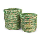 """IMAX CORPORATION - Sea Grass and Recycled Plastic Storage Bins - Set of 2 - Hand woven from seagrass and recycled labels, this set of two egreene storage bins add color and interest to any home or office. Set of 2 in various sizes measuring around 18.5""""l x 18.5""""W x 21""""H each. Shop home furnishings, decor, and accessories from Posh Urban Furnishings. Beautiful, stylish furniture and decor that will brighten your home instantly. Shop modern, traditional, vintage, and world designs."""