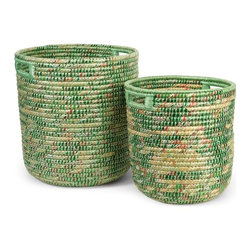"IMAX CORPORATION - Sea Grass and Recycled Plastic Storage Bins - Set of 2 - Hand woven from seagrass and recycled labels, this set of two egreene storage bins add color and interest to any home or office. Set of 2 in various sizes measuring around 18.5""l x 18.5""W x 21""H each. Shop home furnishings, decor, and accessories from Posh Urban Furnishings. Beautiful, stylish furniture and decor that will brighten your home instantly. Shop modern, traditional, vintage, and world designs."
