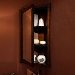 Xylem - Manor Corner Mirrored Medicine Cabinet in Dis - Manufacturer SKU: MC_MANOR_24BN. Complements the Manor Vanity Suite. Solid Birch with Cherry Veneer. Antique Brass hardware. CARB compliant. 24 in. L x 9 in. W x 36 in. H (45 lbs.). View Specification SheetThe perfect complement for the Manor Corner vanity from Xylem. This medicine cabinet is the perfect way to increase storage in a small, corner bathroom.