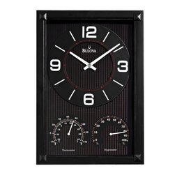 BULOVA - Concept Wall Clock, Thermometer and Hygrometer - Solid wood case, black finish