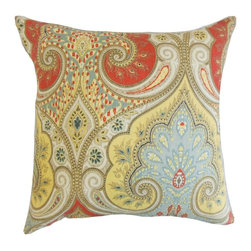 """The Pillow Collection - Kirrily Damask Pillow, Festival 18"""" x 18"""" - This sensational home accessory is all you need to brighten up your living space."""