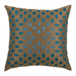 Silver Nest - Microdot Down Pillow - Poly Slub Fabric. Embroidered Details. Pillow Cover with Hidden Zipper. Includes Down Pillow insert. Priced individually, must be sold in set of 2.