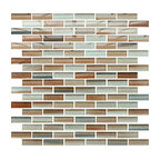 """Rocky Point Tile - 4"""" x 6"""" Sample - Sunset Beach Hand Painted Glass Mosaic Subway Tile - You can add any amount of tile to a room and make a huge improvement in the overall look. Adding these striking, hand-painted glass mosaic tiles takes it to a whole other level of fabulous."""