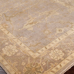 Ainsley Rug - Taupe, Beige, Moss, Gray, and Olive - 2' x 3' - A wonderfully symmetrical re-imagining of traditional carpet motifs from the lands where the finest rugs have always been woven, the Ainsley Rug is not quite neutral with its hints of green cast, but the taupe and beige hues add warmth that picks up your wall tone for a stunning coordination.  An antique wash gives additional interest to this ultra-luxurious wool rug.