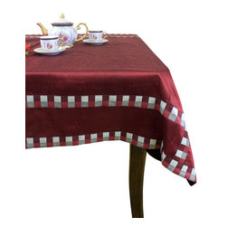 """Banarsi Designs - Modern Squares Rectangular Tablecloth (Red, 52"""" X 70"""") - Our Modern Squares Rectangular tablecloth is not only a beautiful table linen intended for decoration but it is also an ideal way to protect your table tops. Since tabletops are vulnerable to dust, scratched surfaces and other damage, it is essential to take great care of your furnishings; thereby, tables last longer and remain looking like new! This tablecloth offers both protection and beauty. It is crafted in India and features colorful squares that surround the entire border. The fabric is composed with shimmering dupioni satin which is a longer lasting and more wrinkle resistant material. It comes in bold colors including: black, red, gold, and purple. You can choose the color that best matches your theme by exploring our collection. Banarsi Designs Exclusive."""