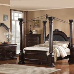 Acme Furniture - Roman Empire II 5 Piece King Canopy Bedroom Set in Dark Cherry - Set includes California King Bed, Dresser, Mirror, Nightstand and Chest