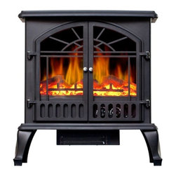 "Lofty - Galway Electric Stove Heater D - Lofty Galway SJ15SFB Free Standing Heater Electric Stove with Double Doors  Glass View Window  Realistic Log Flame Effect  Safety Thermal Cut-Off Device  750W and 1500W Heat Settings  Dimensions: 11.02"" x 22.36"" x 24.84""  This item cannot be shipped to APO/FPO addresses. Please accept our apologies."
