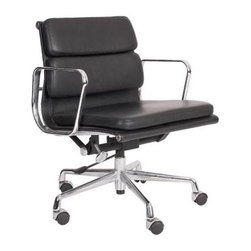 """IFN Modern - Eames Soft Pad Low Back Chair - A true classic, the Eames Soft Pad Low Back Chair was designed by the world-famous design team, Charles and Ray Eames. The Soft Pad Chairs are viewed by many as some of the most significant designs of the 20th century, and all are immediately recognizable as style classics of 1960s corporate America. The chair isn't just a minimalist work of art, it is designed to perfectly fit the movement of the body for optimum comfort. Bring a true design classic into your home with the Eames Soft Pad Low Back Chair, an investment piece that combines technology and strength to form one beautiful object.Overall Dimensions: 31"""" H x 23"""" W x 24"""" Dâ— Available in 100% Full Grain Italian Leather and 100% Full Grain European Aniline Leather Upholsteryâ— Variety of colors availableâ— Uses #304 steel which is much stronger, shines brighter, and is chip resistantâ— Aluminum alloy chromed frame and baseâ— Tilt and full swivel mechanismâ— Height adjustment with gas-liftâ— Five star base with casters"""