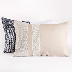 Coyuchi - Coyuchi Labyrinth Pillow Shams - The Coyuchi Labyrinth pillow sham introduces exciting texture to the modern bedroom. Against relaxed white linen, hand-embroidered indigo diamonds create a warm and inviting graphic aesthetic. Available in standard and king sizes; Backed in cotton percale; Tie closures; Machine washable