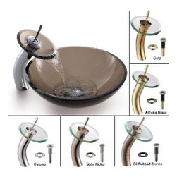 Kraus - Kraus Clear Brown Glass Vessel Sink and Waterfall Faucet Satin Nickel - *Add a touch of elegance to your bathroom with a glass sink combo from Kraus