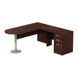 """BBF - BBF Quantum 72W x 30D RH Peninsula L-Desk and 3-Drawer Pedestal - BBF-Commercial Grade Office-QUA052CSR-Artfully designed Quantum never goes out of style. Arrange it for basic small-footprint configurations or expand and accessorize for more complex needs. The BBF Quantum Harvest Cherry 72"""" W x 30""""D RH Peninsula L-Desk with 3-Drawer Pedestal (B/B/F) offers style and storage for any office. Its """"L"""" configuration and peninsula takes up minimal floor space and provides a place for associates to gather. Single pedestal return has two box drawers for miscellaneous supplies and one file drawer for letter-or Legal-Zize files. Central lock keeps bottom two drawers secure. Wire management keep work surfaces clean of cables and cords. Extruded aluminum door and drawer pulls are solid and stylish. Thermally fused laminate surface resists scratches and stains while durable edge banding protects against dings and dents. Includes BBF Limited Lifetime warranty is American made and GSA approved."""