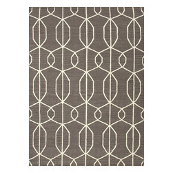 Jaipur Rugs - Flat Weave Geometric Pattern Gray /Black Wool Handmade Rug - MR34, 8x10 - An array of simple flat weave designs in 100% wool - from simple modern geometrics to stripes and Ikats. Colors look modern and fresh and very contemporary.
