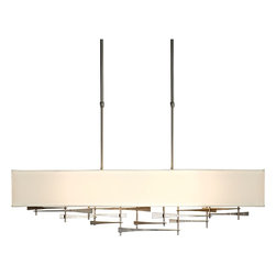 """Hubbardton Forge - Contemporary Hubbardton Forge Cavaletti Burnished Steel Pendant Light - This large contemporary 4-light burnished steel pendant is softened by its rectangular light flax fabric shade. An interlocking linear metal frame attached to a rectangular canopy holds the dimensional shade and adds interest to the piece. Adaptable to sloped ceilings one way up to 45 degrees with an indoor damp rating that is ideal for humid environments. A beautiful home lighting choice from Hubbardton Forge. Modern square pendant light. Metal and fabric construction. Burnished steel finish. Natural Anna fabric shade. Sloped ceiling adaptable to 45 degrees. Includes diffuser. Four max 60 watt bulbs (not included). Manufactured in Vermont by Hubbardton Forge. Canopy is 5"""" x 16"""". 42"""" wide. 10"""" deep. 11"""" high. Shade is 42"""" wide 10"""" deep and 6"""" high. Adjustable hang height from 44"""" to 58 3/4"""".  Modern square pendant light.  Metal and fabric construction.  Burnished steel finish.  Natural Anna fabric shade.  Sloped ceiling adaptable to 45 degrees.  Includes diffuser.  Made in USA.  Use this large chandelier in a foyer or dining room.  Four max 60 watt bulbs (not included).  Manufactured in Vermont by Hubbardton Forge.  Canopy is 5"""" x 16"""".  42"""" wide.  10"""" deep.  11"""" high.  Shade is 42"""" wide 10"""" deep and 6"""" high.  Adjustable hang height from 44"""" to 58 3/4""""."""