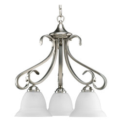 Progress Lighting - Progress Lighting P4405-09 Three-Light Chandelier With Etched Glass Shades - Three-light chandelier with etched white oversized, bell-shaped glass bowls. Distinctive ebbing and flowing of squared scrolls and arms in Brushed Nickel finish.
