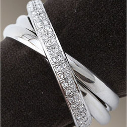 "L'Objet Three Rings Platinum Swarovski Napkin Rings - The ""Three Rings"" Swarovski Napkin Rings would be a lovely gift for a special anniversary or as a wedding gift for a young bride and groom.  These sweet napkin rings are sure to be the heirlooms of the future."