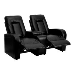 Flash Furniture - Flash Furniture Black Leather 2-Seat Home Theater Recliner with Storage Console - Complete your theater room with this comfortable theater style seating. The soft leather will keep you comfortable as you sit down with friends and family for movie night or while playing video games. You can setup as many rows as needed to fill up your desired space. The push back recline allow users to set their own recline to their own comfort. [BT-70259-2-BK-GG]