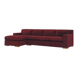 Lazar Industries - Corvo Sectional:  Chaise and Adjacent 3-Seater Sleeper Sofa in Avanti Cabernet - Corvo Sectional:  Chaise and Adjacent 3-Seater Sleeper Sofa by Lazar Industries offers exceptional style and comfort with track arms and exquisite tailoring.