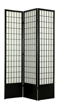 Oriental Unlimited - 7 ft. Tall Window Pane Shoji Screen w Kick Plate (6 Panels / Rosewood) - Finish: 6 Panels / RosewoodDress up your room by adding this Asian inspired room divider to your home. The screen has spruce construction, a black finish and rice paper panels with geometric windowpane style. The screen has hinges that can be moved in two directions and a protective kick plate. Screens may vary slightly in color. Includes a kick plate to protect the shade from scuffs. Difficult to find in the USA. Great for rooms with high ceilings for a more substantial feeling or where greater privacy is preferred. Provides complete privacy. Shade is strong. Fiber reinforced pressed pulp rice paper allows diffused light. Crafted from durable and lightweight Scandinavian Spruce. Panels are constructed using Asian style mortise and tenon joinery. Lacquered brass. 2-Way hinges mean you can bend the panels in either direction. Black finish. Assembly required. Each panel: 17.5 in. W x .75 in. D x 83.5 in. H. 3 Panels: 53 in. wide (flat). Approximately 45 in. wide (folded to stand upright)