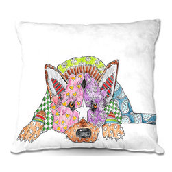 DiaNoche Designs - Pillow Woven Poplin from DiaNoche Designs by Marley Ungaro - German Shepard Dog - Toss this decorative pillow on any bed, sofa or chair, and add personality to your chic and stylish decor. Lay your head against your new art and relax! Made of woven Poly-Poplin.  Includes a cushy supportive pillow insert, zipped inside. Dye Sublimation printing adheres the ink to the material for long life and durability. Double Sided Print, Machine Washable, Product may vary slightly from image.